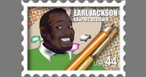 earl portrait in a postage stamp